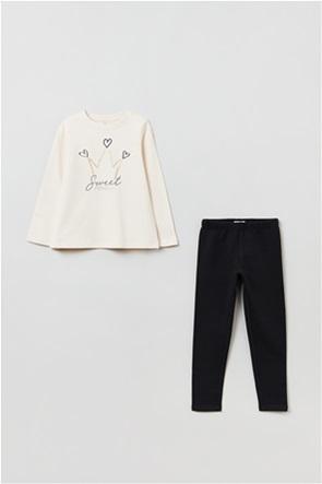 OVS παιδικό σετ ρούχων με glitter print και κολάν (3-10 ετών)