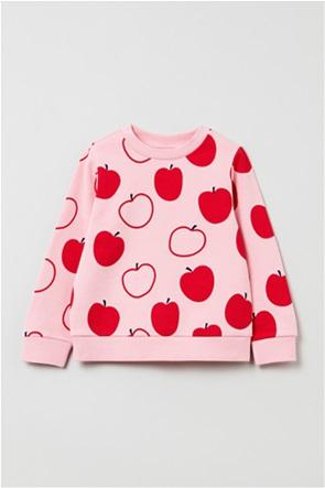 OVS παιδική μπλούζα φούτερ με all-over apple print (3-10 ετών)