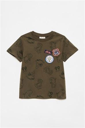 OVS παιδικό T-shirt με animals print και patches (3-10 ετών)
