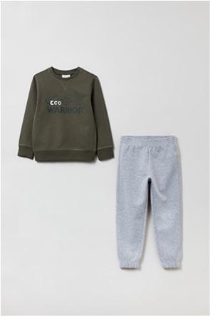 OVS παιδικό σετ ρούχων μπλούζα φούτερ με lettering και παντελόνι φόρμας (3-10 ετών)