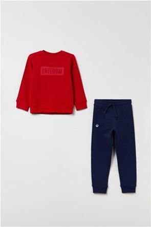 OVS παιδικό σετ ρούχων μπλούζα φούτερ και παντελόνι φόρμας με lettering και patch (3-10 ετών)