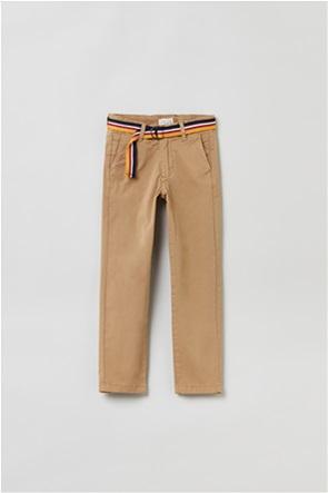 OVS παιδικό chino παντελόνι μονόχρωμο με ζώνη (3-10 ετών)