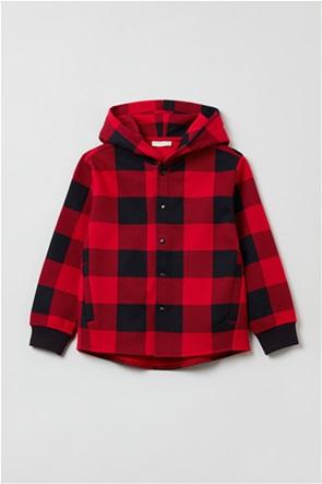 OVS παιδική μπλούζα fleece καρό με κουκούλα (3-10 ετών)