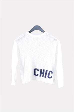 OVS παιδική πλεκτή μπλούζα με print (10-15 χρονών)