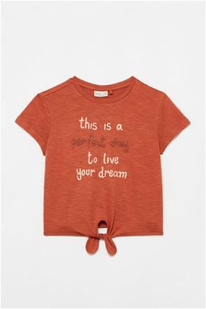 OVS παιδικό T-shirt με letter print και δέσιμο (10-15 ετών)