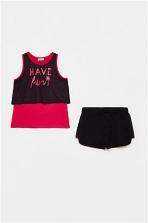 OVS παιδικό σετ ρούχων μπλούζα με mesh layer και σορτς (10-15 ετών)