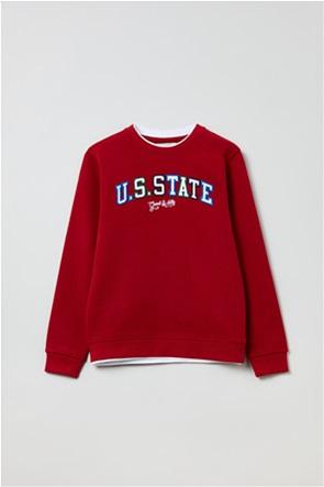 OVS παιδική μπλούζα φούτερ με κεντημένα γράμματα (10-15 ετών)