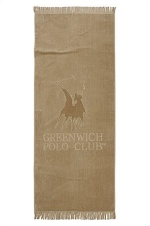 """Greenwich Polo Club βελουτέ πετσέτα θαλάσσης """"Essential"""" με logo και κρόσσια 70 x 170 cm"""