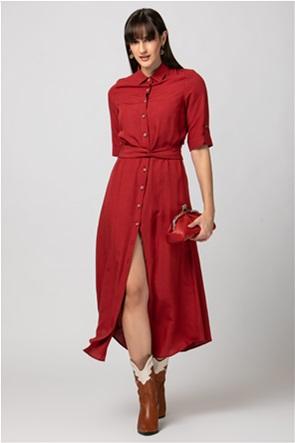 Billy Sabbado γυναικείο midi φόρεμα σεμιζιέ με ζώνη