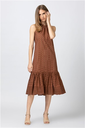 Billy Sabbado γυναικείο midi φόρεμα διάτρητα κεντήματα και βολάν