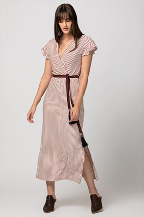 Billy Sabbado γυναικείο midi φόρεμα κρουαζέ ριγέ