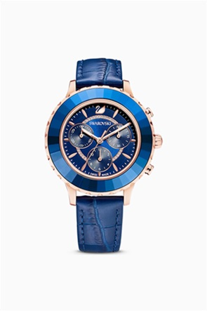 Swarovski Octea Lux Chrono Watch, Leather strap, Blue, Rose-gold tone PVD