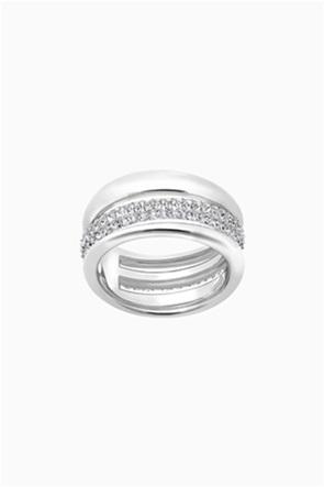 Swarovski Exact Ring, White, Rhodium plated