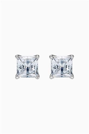 Swarovski Attract Pierced Earrings, White, Rhodium plated