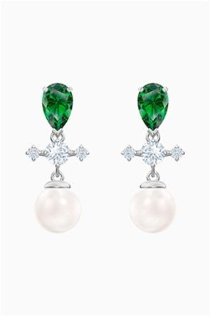 Swarovski Perfection Drop Pierced Earrings, Green, Rhodium plated