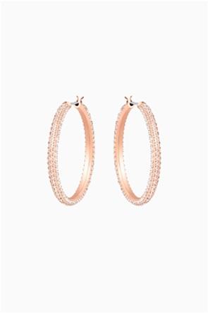 Swarovski Stone Hoop Pierced Earrings, Pink, Rose-gold tone plated