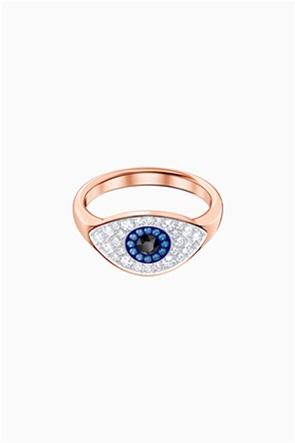 Swarovski Symbolic Evil Eye Ring, Blue, Rose-gold tone plated