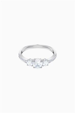 Swarovski Attract Trilogy Round Ring, White, Rhodium plated
