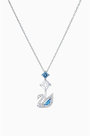 Swarovski Dazzling Swan Necklace, Blue, Rhodium plated