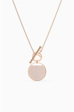 Swarovski Ginger T Bar Necklace, White, Rose-gold tone plated