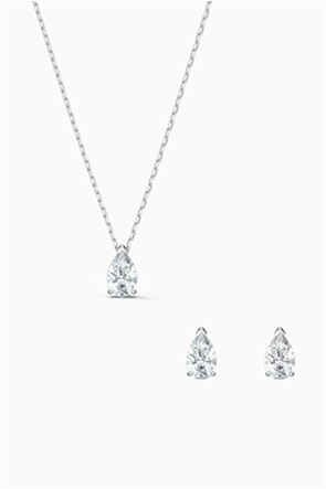 Swarovski Attract Pear Set, White, Rhodium plated
