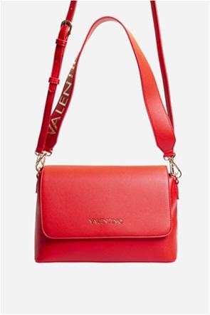 Valentino by Mario Valentino γυναικεία τσάντα ώμου μονόχρωμη με μεταλλικό letter logo