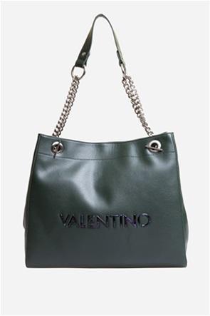 Valentino by Mario Valentino γυναικεία τσάντα ώμου με μεταλλικό logo και αλυσίδα