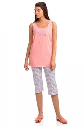Vamp γυναικεία πιτζάμα με letter print εμπριμέ παντελόνι