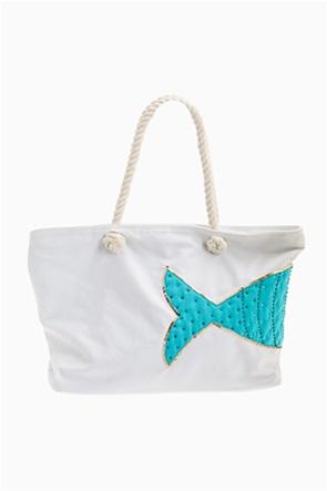 Lovely Hats γυναικεία τσάντα παραλίας με fish print και διακοσμητικές παγιέτες