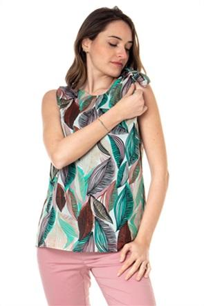 "Emme by Marella γυναικεία μπλούζα αμάνικη με leaf print ""Hemp"""
