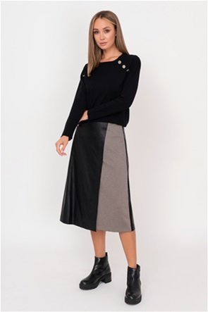 Emme by Marella γυναικεία midi φούστα faux-leather με καρό σχέδιο