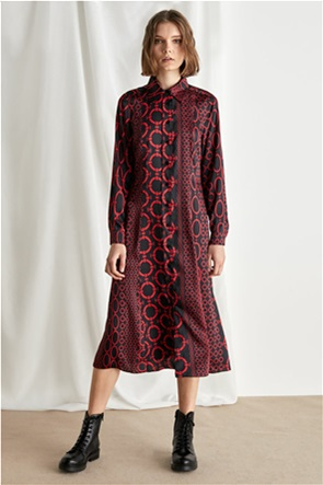 "Emme by Marella γυναικείο maxi φόρεμα σεμιζιέ με print ""Scacco"""