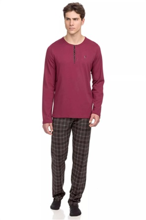 Vamp σετ ανδρικές πιτζάμες με καρό σχέδιο plus size