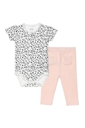 Alouette βρεφικό σετ ρούχων κορμάκι με all-over heart print και κολάν (3-9 μηνών)