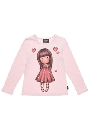 "Alouette παιδική μπλούζα με graphic print και glitter καρδιές ""Santoro""(6-14 ετών)"