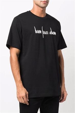 """Diesel ανδρικό T-shirt μονόχρωμο με lettering """"Brave from Above"""""""