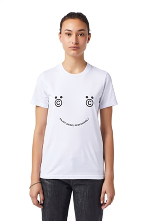 "Diesel γυναικείο T-shirt μονόχρωμο με print ""Green Label Smiley Face"""