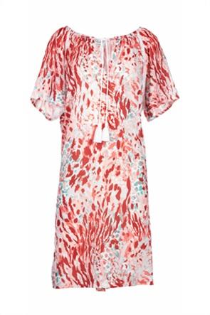 Pink Label γυναικείo φόρεμα παραλίας εμπριμέ με κορδόνια
