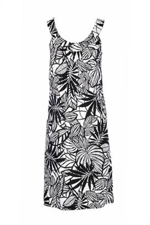 Pink Label γυναικείo φόρεμα παραλίας με floral print και βολάν