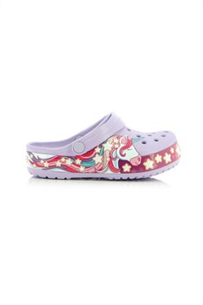 "Crocs παιδικά πέδιλα με print μονόκερο ""Funlab Unicorn"""