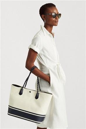 "Lauren Ralph Lauren γυναικεία τσάντα ώμου με logo ""Canvas Large Hutton Striped Tote"""