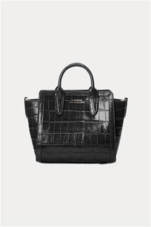 """Lauren Ralph Lauren γυναικεία δερμάτινη mini bag crossbody """"Embossed Small Tyler Tote"""""""