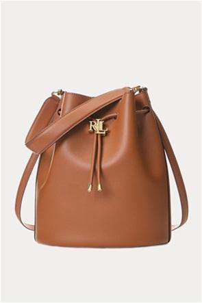 """Lauren Ralph Lauren γυναικεία δερμάτινη bucket τσάντα με logo print """"Large Andie"""""""