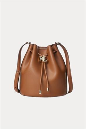 """Lauren Ralph Lauren γυναικεία δερμάτινη bucket τσάντα με μεταλλικό logo """"Medium Andie"""""""