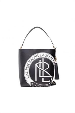 """Lauren Ralph Lauren γυναικεία δερμάτινη hobbo bag με graphic print """"Adley"""""""