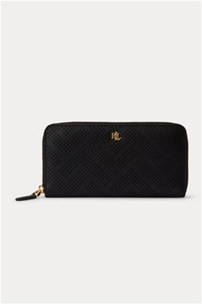 """Lauren Ralph Lauren γυναικείo δερμάτινo πορτοφόλι με διάτρητο σχέδιο """"Perforated Continental"""""""