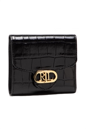 Lauren Ralph Lauren γυναικείo δερμάτινo πορτοφόλι croco με μεταλλικό λογότυπο