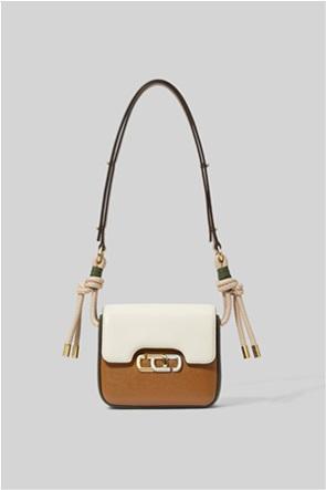 "Marc Jacobs γυναικεία δερμάτινη τσάντα ώμου colorblocked με μεταλλικό logo ""The J Link Mini"""