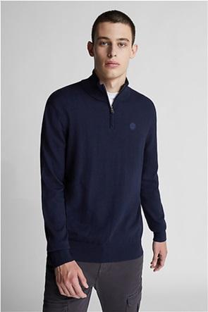 North Sails ανδρική μπλούζα πλεκτή μονόχρωμη με ψηλό λαιμό και logo print