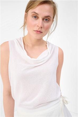 Orsay γυναικεία μπλούζα αμάνικη με ντραπέ λαιμόκοψη